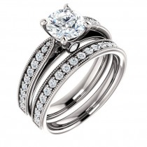 Four prong bead set Airline engagement ring