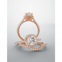 Rosa diamond halo engagement ring setting