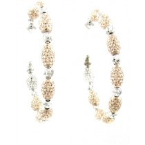 .925 Rose and white diamond cut earrings