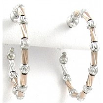 .925 Tube collecton rose gold and silver hoops