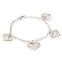 Romantica Bracelet w 4 Two Tone Hearts