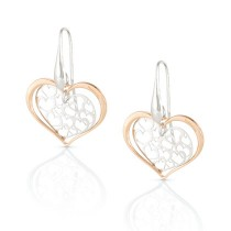 Romantica Earrings w/ Two Tone Hearts