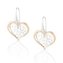 Romantica Earrings w/ Two Tone Hearts