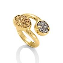 Gold Tone Elisa Ring w/ Drusy stones