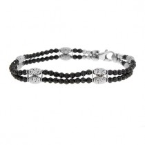 .925 Gothic mars black and white bead double bracelet