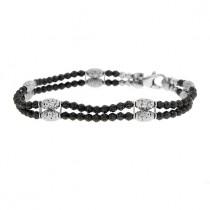 .925 Gothic mars black and white bead double bracelet