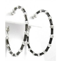 .925 Tube collecton black rhodium silver hoops 3.5 cm