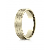 14k Yellow gold flat double carved ring