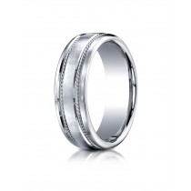 14k 7.5 mm white gold double rope  ring