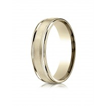 14k yellow gold double miligrain ring with satin center.