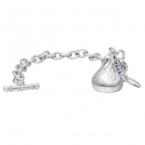 Sterling Silver Medium 3D Shaped Hershey's Kiss Bracelet with One Hershey's Kiss Charm