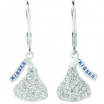 Sterling Silver with CZ Small Flat Back Shaped Hershey's Kiss Lever Back Earrings
