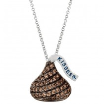 Sterling silver & brown Cubic Zirconium Medium Flat Back Hershey''s Kiss Pendant