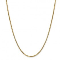14k 2.45mm Hollow Round Box Chain