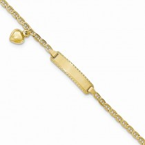 14k yellow gold Mariner ID bracelet with dangling heart