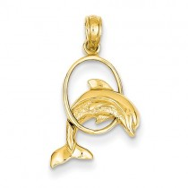 14k yellow gold jumping dolphin charm