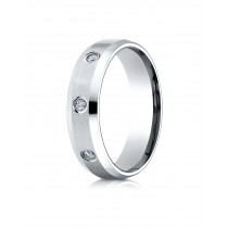 14k .12 ct white gold mens designer bezel set band