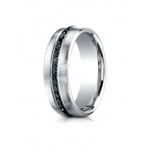 14k .40 ct black diamond set in white gold center ring