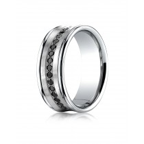 14k .32ct black diamond concave mens white gold ring
