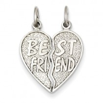 14k white gold 'Best Friend' 2-piece breakaway pendant