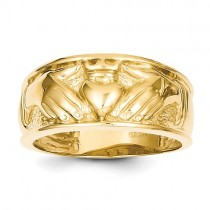 14k yellow gold claddagh band style ring