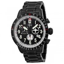 ESQ by Movado Black Anodized Stainless Steel Swiss Beacon Chronograph Black Dial Mens Watch