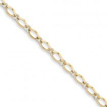 14K Two-Tone Oval And Diamond Cut Circle Bracelet