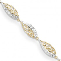 14K Two-Tone Fancy Diamond Cut Link Bracelet