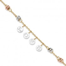 "14k Tri color ""LOVE"" dangle link bracelet"