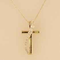 Yellow Gold Diamond Journey Cross