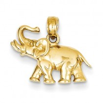 14k Polished Elephant Charm