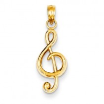 14k Polished Open-Backed Treble Clef Pendant