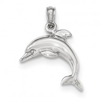 14K White Gold Polished 2-D Dolphin Jumping Pendant