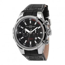 Officina Del Tempo Sail II Black Chronograph Black Leather Band Watch