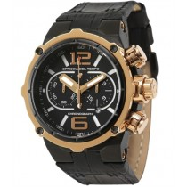Officina Del Tempo Power Black 49 mm Chronograph Stainless Steel Leather Band Watch