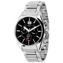 Officina Del Tempo Elegance 40mm Black Chronograph Stainless Steel Case Watch