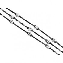 .925 Triple row cable link and oval bead bracelet