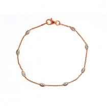 .925 single row rose gold cable link and oval bead bracelet