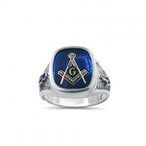 Sterling Silver Blue Stone Mason ring
