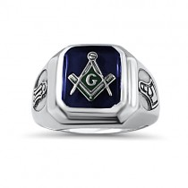Sterling silver rectangle blue stone Masonic ring