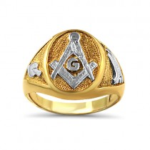 Two tone men's oval shape Masonic ring