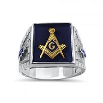Blue stone brick style Mason ring