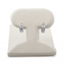 14k white gold double row huggie earrings