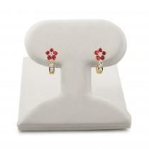 14k gold flower top children's earrings