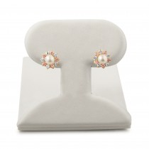 Pearl stud earrings with white and pink Cubic Zirconia