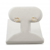 14k yellow gold Heart stud earrings with Cubic Zirconia