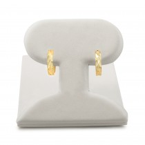 14k yellow gold diamond cut huggie earrings