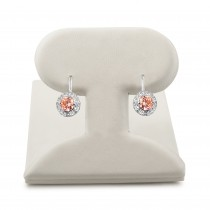 Pink center cubic zirconia hinge back earrings