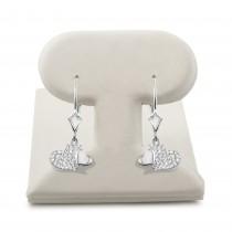 14k White gold Lever back heart hanging earrings