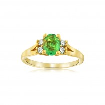 14k Yellow gold Oval cut Emerald & diamond ring
